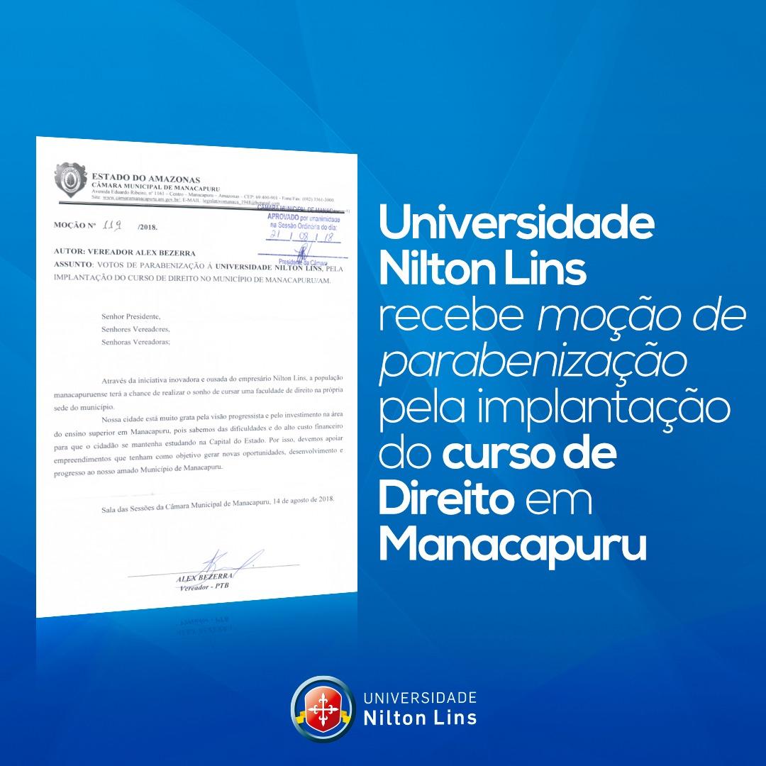 UNIVERSIDADE NILTON LINS RECEBE HOMENAGEM DA CÂMARA MUNICIPAL DE MANACAPURU